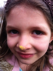 Pollen nose: Lola wants to feel what it is like to be a bee.
